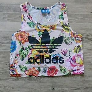 Gorgeous Floral Adidas Cropped tank, size L